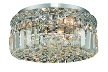 Elegant 2030F12C/RC - 2030 Maxime Collection Flush Mount D12in H5.5in Lt:4 Chrome Finish (Royal Cut Crystals)
