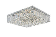 Elegant 2032F20C/RC - 2032 Maxime Collection Flush Mount L20in W20in H5.5in Lt:12 Chrome Finish (Royal Cut Crystals)