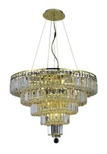 Elegant 2036D26G/RC - 2036 Maxime Collection Chandelier D:26in H:20in Lt:14 Gold Finish (Royal Cut Crystals)