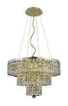 Elegant 2037D20G/RC - 2037 Maxime Collection Chandelier D:20in H:16in Lt:9 Gold Finish (Royal Cut Crystals)
