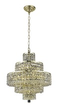 Elegant 2039D20G/RC - 2039 Maxime Collection Chandelier D:20in H:21in Lt:13 Gold Finish (Royal Cut Crystals)