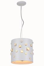 Elegant 2058D11WH/RC - 2058 Candice Collection Pendant D:11in H:11in Lt:3 White Finish (Royal Cut Crystals)