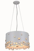 Elegant 2058D18WH/RC - 2058 Candice Collection Pendant D:18in H:10in Lt:6 White Finish (Royal Cut Crystals)
