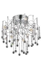 Elegant 2075F18C/RC - 2075 Astro Collection Flush Mount D:18in H:18in Lt:6 Chrome Finish (Royal Cut Crystals)