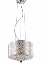 Elegant 2078D12C/RC - 2078 Prism Collection Pendant D:12in H:10in Lt:3 Chrome Finish (Royal Cut Crystals)