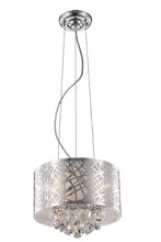 Elegant 2079D12C/RC - 2079 Prism Collection Pendant D:12in H:10in Lt:3 Chrome Finish (Royal Cut Crystals)