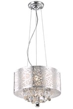 Elegant 2079D14C/RC - 2079 Prism Collection Pendant D:14in H:10in Lt:3 Chrome Finish (Royal Cut Crystals)