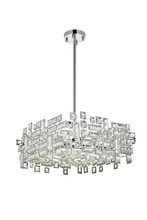 Elegant 2100D18C/RC - 2100 Picasso Colloection Pendant L:18 in W:18in H:9in Lt:4 Chrome Finish (Royal Cut Crystals)