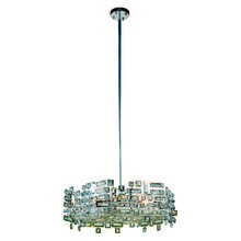 Elegant 2101D24C/RC - 2101 Picasso Collection Pendant D:24in H:8in Lt:6 Chrome Finish (Royal Cut Crystals)
