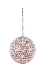 Elegant 2102D14C/RC - 2102 Cabaret Collection Pendant D:14in H:14in Lt:5 Chrome Finish (Royal Cut Crystals)