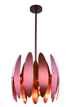 Elegant 2111D17BC - 2111 Lily Collection Pendant D:17in H:14.5in Lt:3 Brushed Copper Finish