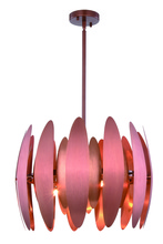 Elegant 2111D20BC - 2111 Lily Collection Pendant D:20in H:14.5in Lt:6 Brushed Copper Finish