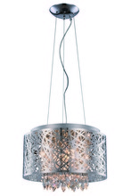 Elegant 2113DF16C/RC - 2113 Finley Collection Pendant/Flush Mount D:16in H:10in Lt:7 Chrome Finish (Royal Cut Crystals)