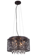 Elegant 2113DF16MDB/RC - 2113 Finley Collection Pendant/Flush Mount D:16in H:10in Lt:7 Matte Dark Brown Finish (Royal Cut Cry