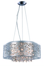 Elegant 2113DF24C/RC - 2113 Finley Collection Pendant/Flush Mount D:24in H:10in Lt:9 Chrome Finish (Royal Cut Crystals)