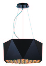 Elegant 2123D17FB - 2123 Uptown Collection Pendant D:17in H:8in Lt:4 Flat Black + Gold (interior) Finish (Royal Cut Crys