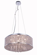 Elegant 2914D20C/RC - 2914 Amelie Collection Pendant D:20in H:6in Lt:8 Chrome Finish (Royal Cut Crystals)