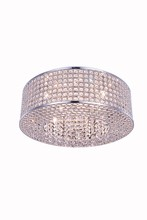 Elegant 2914F20C/RC - 2914 Amelie Collection Flush Mount D:20in H:6in Lt:8 Chrome Finish (Royal Cut Crystals)