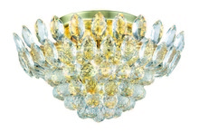 Elegant 3002F16G/RC - 3002 Vesper Collection Flush Mount D:16in H:9in Lt:5 Gold Finish (Royal Cut Crystals)