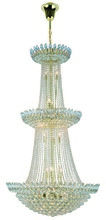 Elegant 3002G36G/RC - 3002 Vesper Collection Chandelier D:36in H:66in Lt:27 Gold Finish (Royal Cut Crystals)