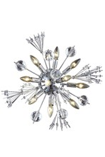 Elegant 3400W20C/EC - 3400 Cyclone Collection Wall Sconce D:20in H:20in E:8in Lt:10 Chrome Finish (Elegant Cut Crystals)