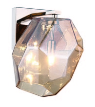 Elegant 4002W5PNGT - 4002 Gibeon Collection Wall Light D:5.5in H:9.5in E:7.9in Lt:1 Polished Nickel  + Golden teak shade