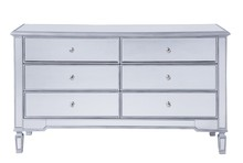 Elegant MF6-1036S - 6 drawers cabinet 60 in. x 20 in. x 34 in. in Silver paint