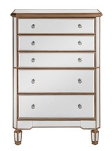 Elegant MF6-1126G - 5 Drawer Cabinet 33 in. x 16 in. x 49 in. in Gold paint
