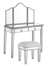 Elegant MF6-2002S - Vanity Table 42 in. x 18 in. x 31 in. and Mirror 39 in. x 1 in. x 42 in. and Chair 18 in. x 14 in. x