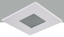 "Elegant R3-559MW - 3"" Matte White Square shower Trim with Frosted glass and Matte White Square Trim ring"