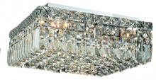 Elegant V2032F14C/RC - 2032 Maxime Collection Flush Mount L:14in W:14in H:5.5in Lt:5 Chrome Finish (Royal Cut Crystals)